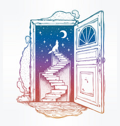 open door into a dream stairway to the sky wolf vector image