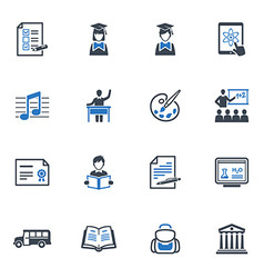 School and education icons set 2 - blue series vector