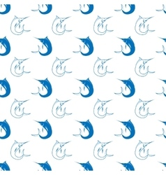 Set of fish marlin seamless pattern vector