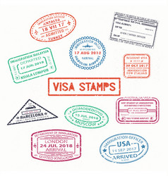 Set of isolated visa passport rubber stamps vector