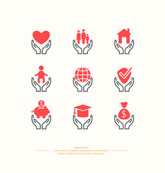 Set of linear icons support and care vector