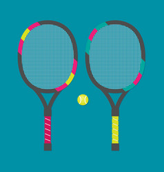 set of tennis rackets and tennis ball vector image vector image