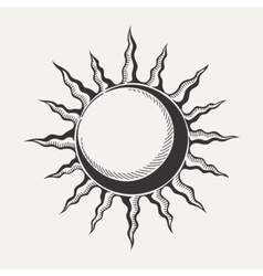 Sun symbol isolated on white ackground vector image