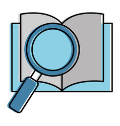 text book with magnifying glass vector image