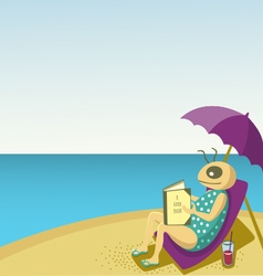 Relaxing at the beach reading a good book vector