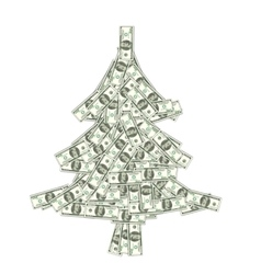 Christmas Concept - Pine Made of Banknotes of vector image