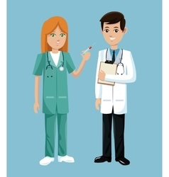 doctor and nurse stethoscope clipborad service vector image