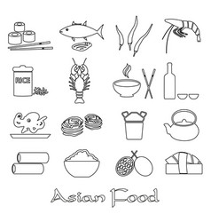 Asian food theme set of simple outline icons eps10 vector
