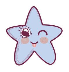 Kawaii funny star with tongue outside vector