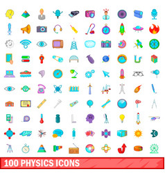 100 physics icons set cartoon style vector image