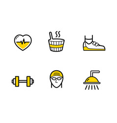Fitness gym services line icons set on the white vector