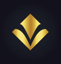 square letter v gold logo vector image