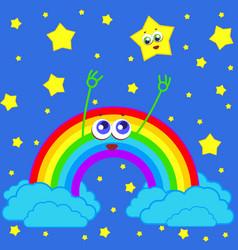 Rainbow and star in the sky vector