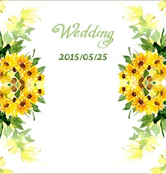 Watercolor card with flowers sunflower vector