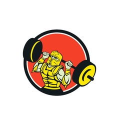Knight lifting barbell circle retro vector