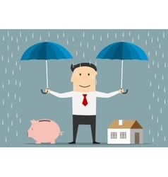 Man holds umbrellas over house and piggy bank vector
