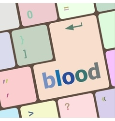 Blood button on computer pc keyboard key vector