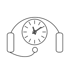 Headset with a clock icon outline style vector