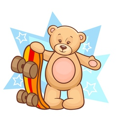 Teddy bear with skateboard vector
