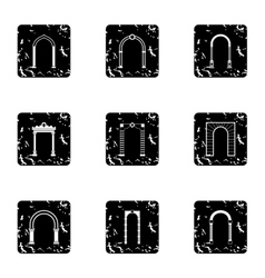 Archway icons set grunge style vector