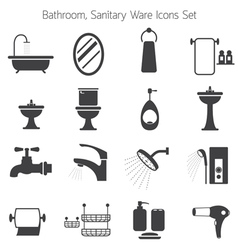 Bathroom mono icons set vector