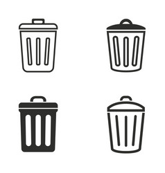 bin icon set vector image vector image