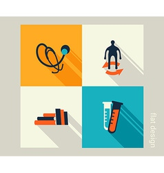 Business icon set Healthcare medicine checkup Flat vector image