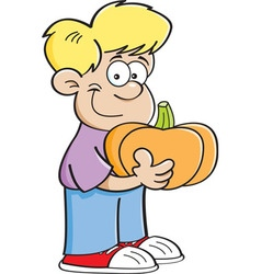 Cartoon boy holding a pumpkin vector image vector image