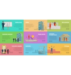 Collection of Banners Stages of Building House vector image vector image