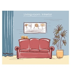 Color sketchy interior of living room hand d vector image