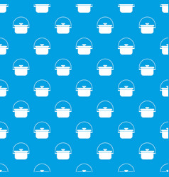 Cooking cauldron pattern seamless blue vector