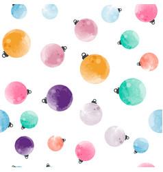 Cutewatercolor christmas balls seamless pattern vector