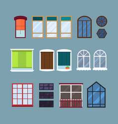 different types house windows elements isolated vector image vector image