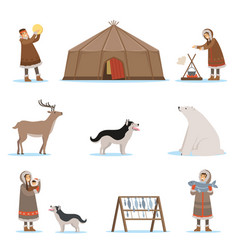 Eskimo characters in traditional clothing arctic vector