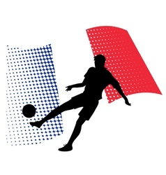 France soccer player against national flag vector