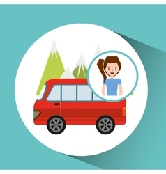Girl van mountain tourist traveler vector