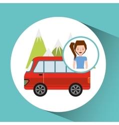 girl van mountain tourist traveler vector image