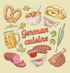 hand drawn german cuisine food doodle vector image vector image