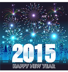 HHappy New Year 2015 with fireworks background vector image