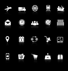 Logistic icons with reflect on black background vector image vector image