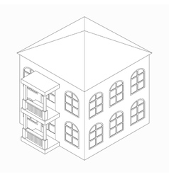 Low-rise building icon isometric 3d style vector