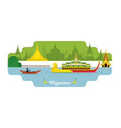 Myanmar travel and attraction landmarks vector