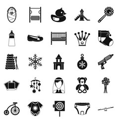 nursery icons set simple style vector image