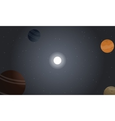 Retro space with planet and star landscape vector image