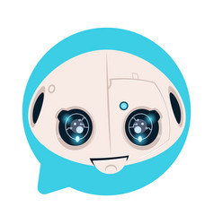 Robot head icon in blue speech bubble support chat vector