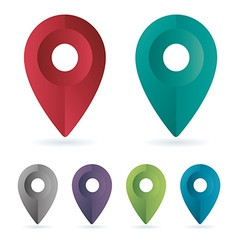 Set color maping pin location icons vector image vector image