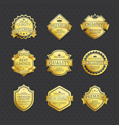 set of golden labels best choice premium quality vector image vector image