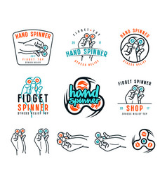 Set of hand spinner emblems vector