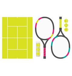 Set of tennis rackets cord and tennis balls vector