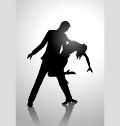 silhouette of a couple dancing vector image vector image